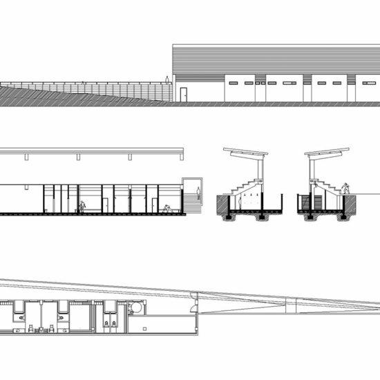 """""""Proyecto B. y E. Vestuarios del campo de fútbol de Vilariño"""", Vilariño., Nigrán, Pontevedra Promotor: Ayuntamiento de Nigrán (2005)"""